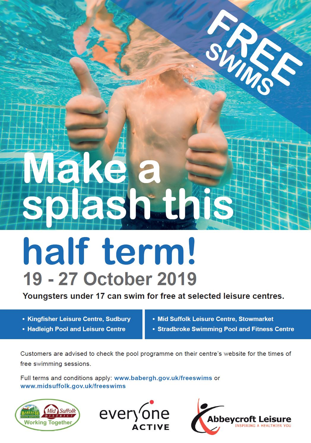 Free Swims to continue in October half term and Christmas Holidays